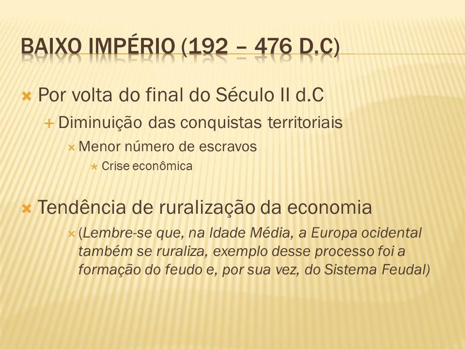 Baixo Império (192 – 476 d.C) Por volta do final do Século II d.C
