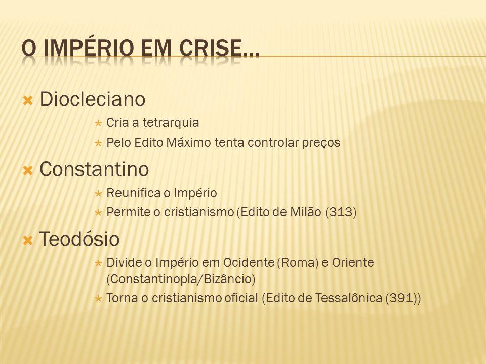 O Império em crise... Diocleciano Constantino Teodósio