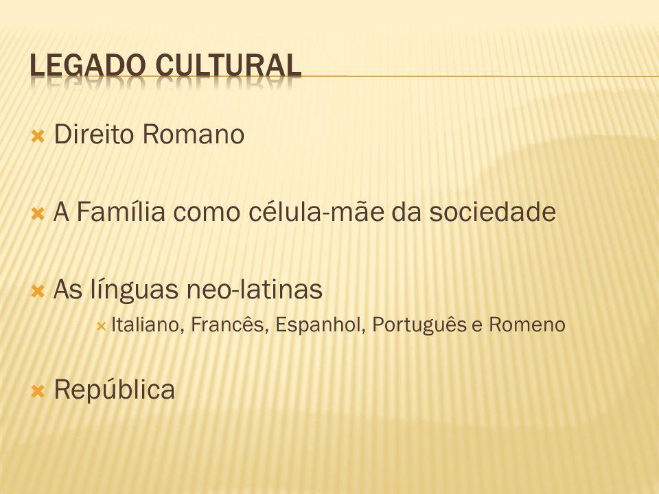 Legado Cultural Direito Romano A Família como célula-mãe da sociedade