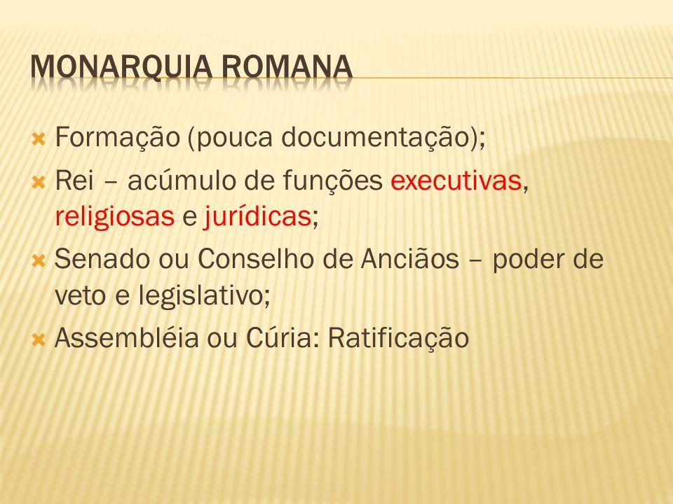 Monarquia Romana Formação (pouca documentação);