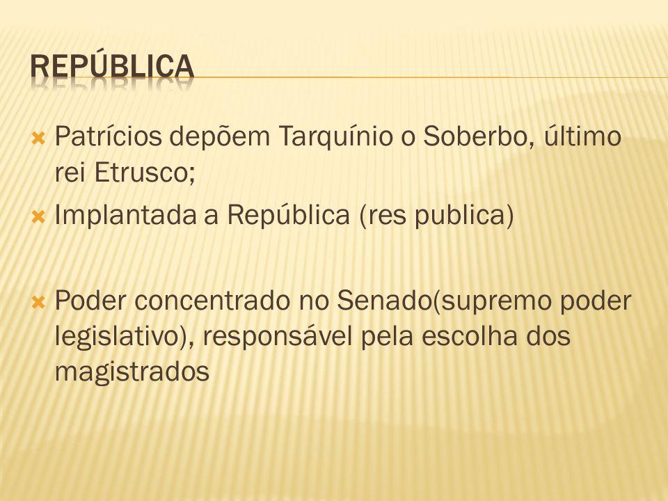 república Patrícios depõem Tarquínio o Soberbo, último rei Etrusco;