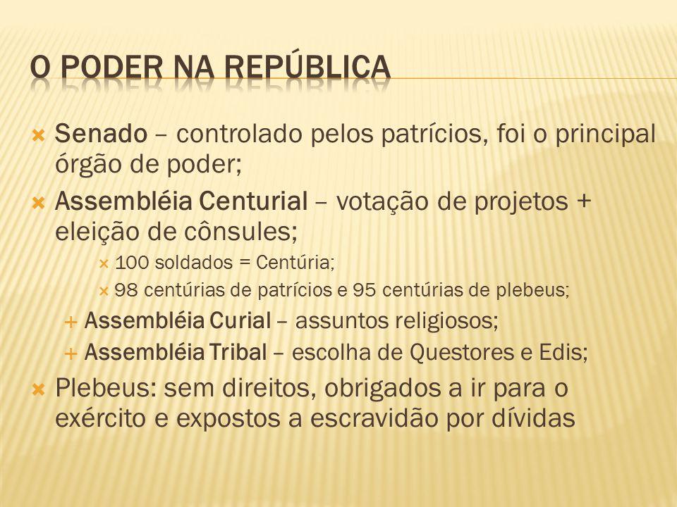 O Poder na república Senado – controlado pelos patrícios, foi o principal órgão de poder;