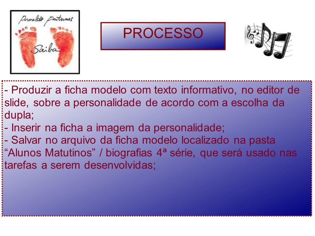 PROCESSO - Produzir a ficha modelo com texto informativo, no editor de slide, sobre a personalidade de acordo com a escolha da dupla;