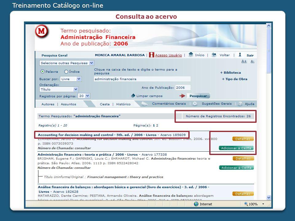 Treinamento Catálogo on-line