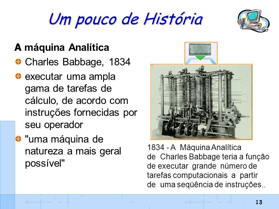 Um pouco de História A máquina Analítica Charles Babbage, 1834