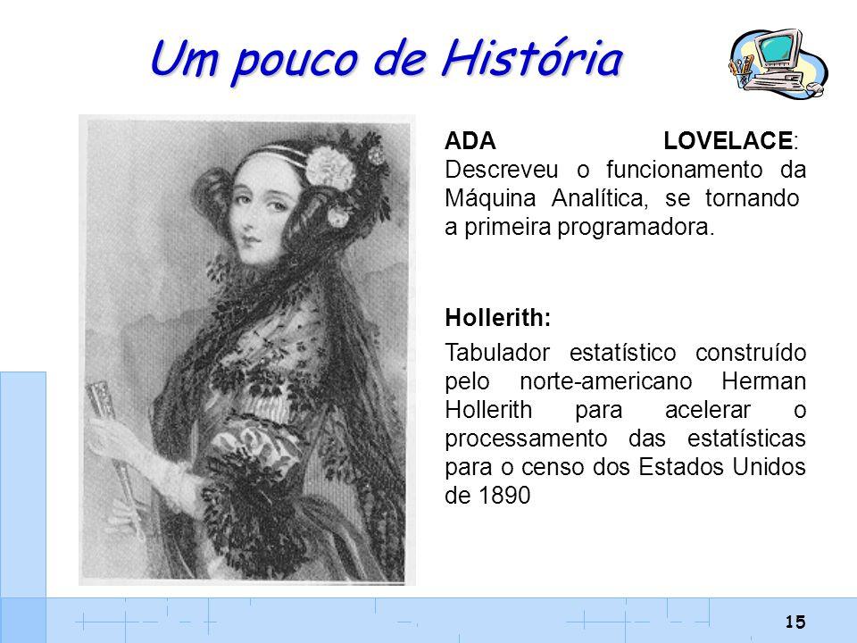 Um pouco de História ADA LOVELACE: Descreveu o funcionamento da Máquina Analítica, se tornando a primeira programadora.
