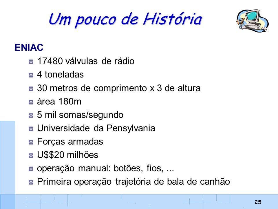 Um pouco de História ENIAC 17480 válvulas de rádio 4 toneladas