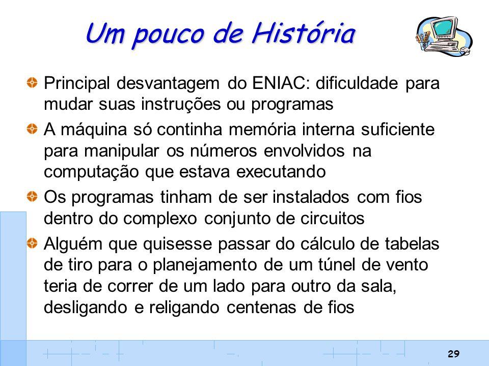Um pouco de História Principal desvantagem do ENIAC: dificuldade para mudar suas instruções ou programas.
