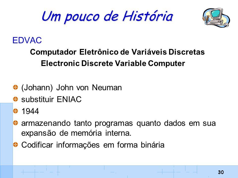 Um pouco de História EDVAC (Johann) John von Neuman substituir ENIAC