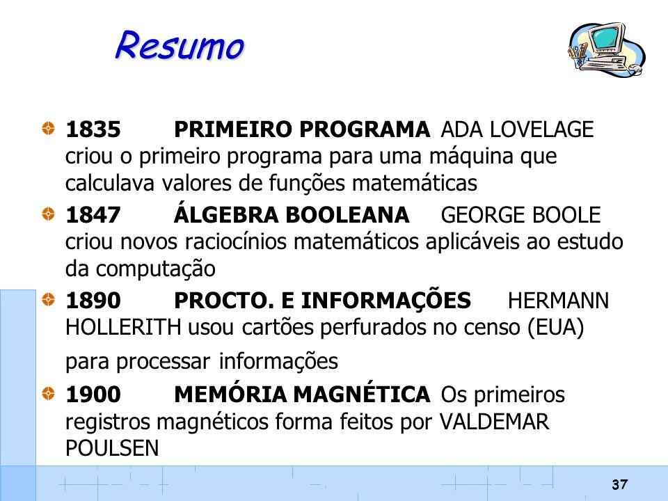 Resumo 1835 PRIMEIRO PROGRAMA ADA LOVELAGE criou o primeiro programa para uma máquina que calculava valores de funções matemáticas.