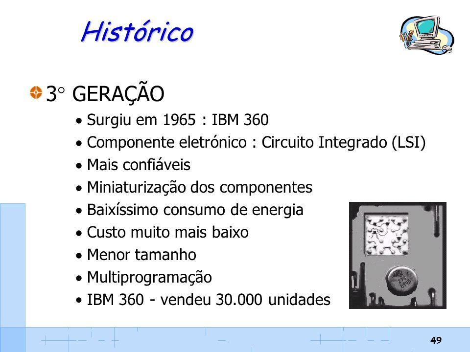 Histórico 3 GERAÇÃO Surgiu em 1965 : IBM 360