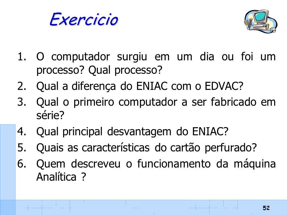 Exercicio O computador surgiu em um dia ou foi um processo Qual processo Qual a diferença do ENIAC com o EDVAC