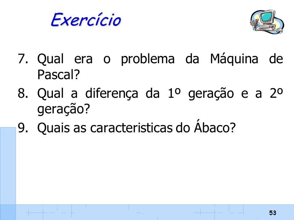 Exercício Qual era o problema da Máquina de Pascal