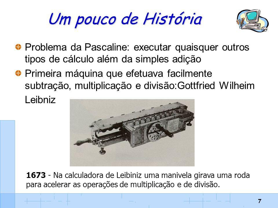 Um pouco de História Problema da Pascaline: executar quaisquer outros tipos de cálculo além da simples adição.