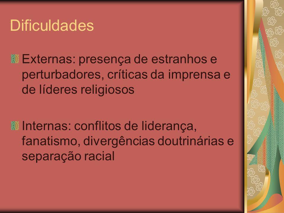 Dificuldades Externas: presença de estranhos e perturbadores, críticas da imprensa e de líderes religiosos.
