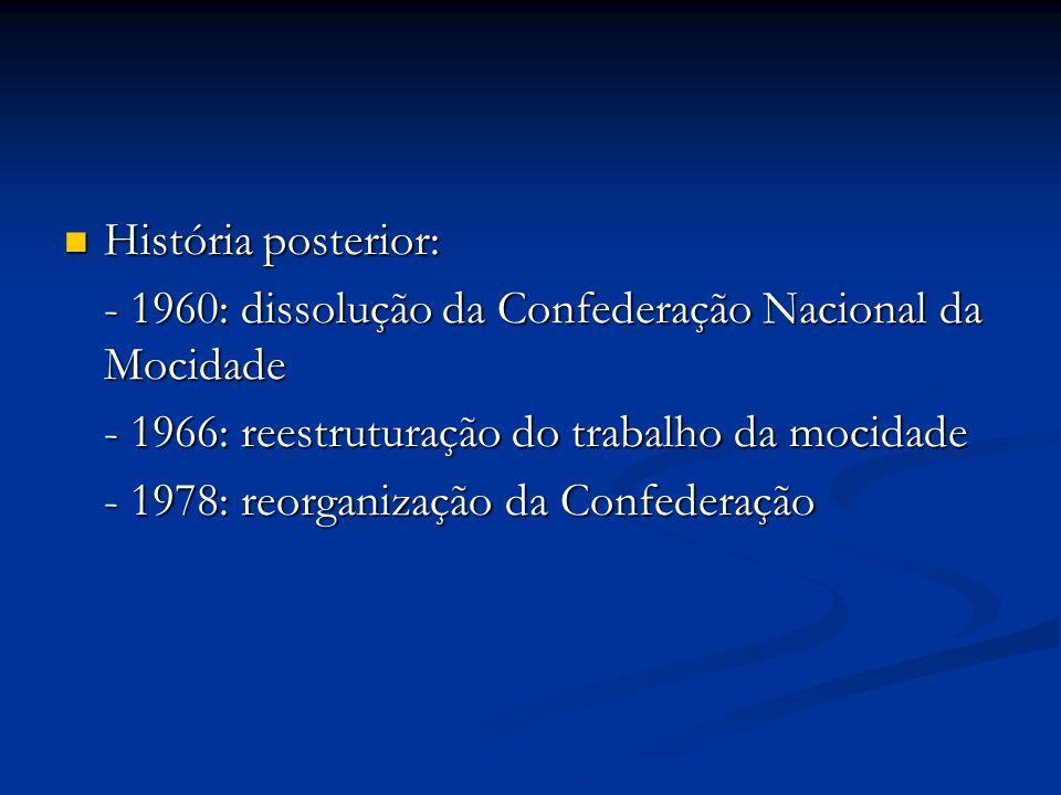 História posterior:- 1960: dissolução da Confederação Nacional da Mocidade. - 1966: reestruturação do trabalho da mocidade.