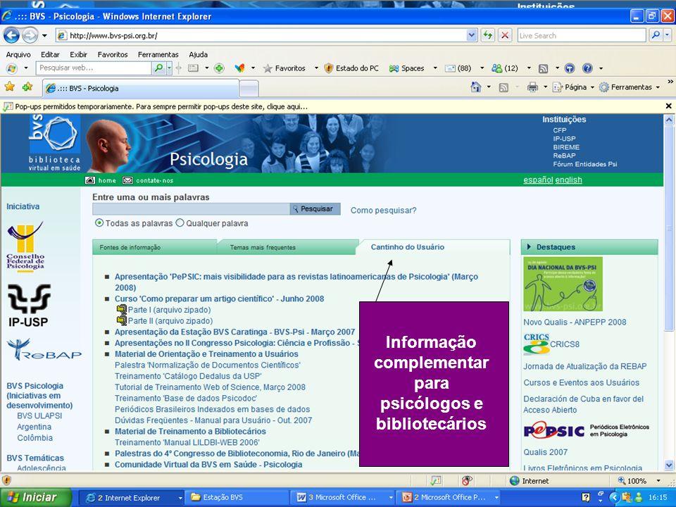 Informação complementar para psicólogos e bibliotecários