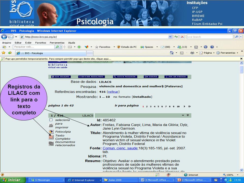 Registros da LILACS com link para o texto completo