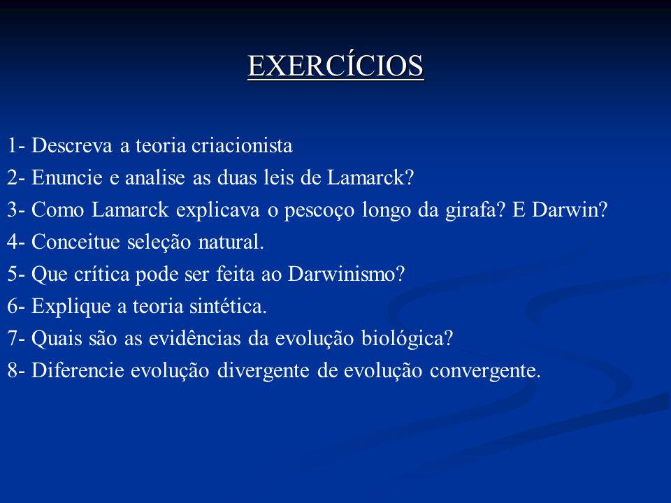 EXERCÍCIOS 1- Descreva a teoria criacionista
