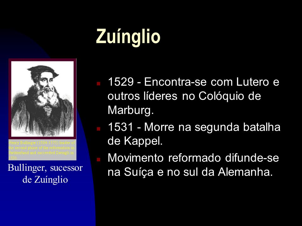 Bullinger, sucessor de Zuínglio