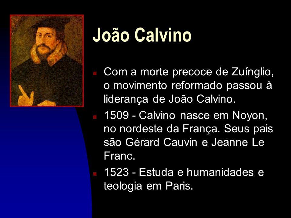 João CalvinoCom a morte precoce de Zuínglio, o movimento reformado passou à liderança de João Calvino.