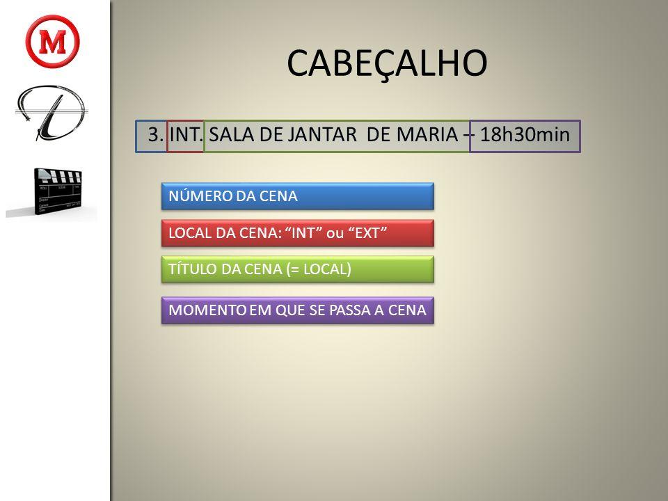 CABEÇALHO 3. INT. SALA DE JANTAR DE MARIA – 18h30min NÚMERO DA CENA