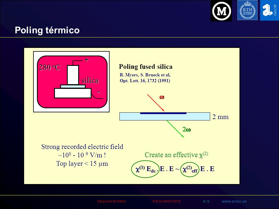 Poling térmico + 280 oC silica - Poling fused silica w 2 mm 2w