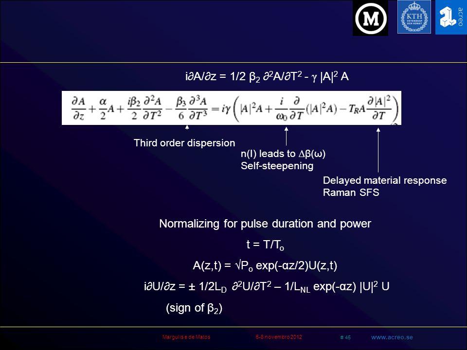 i∂A/∂z = 1/2 β2 ∂2A/∂T2 - γ |A|2 A