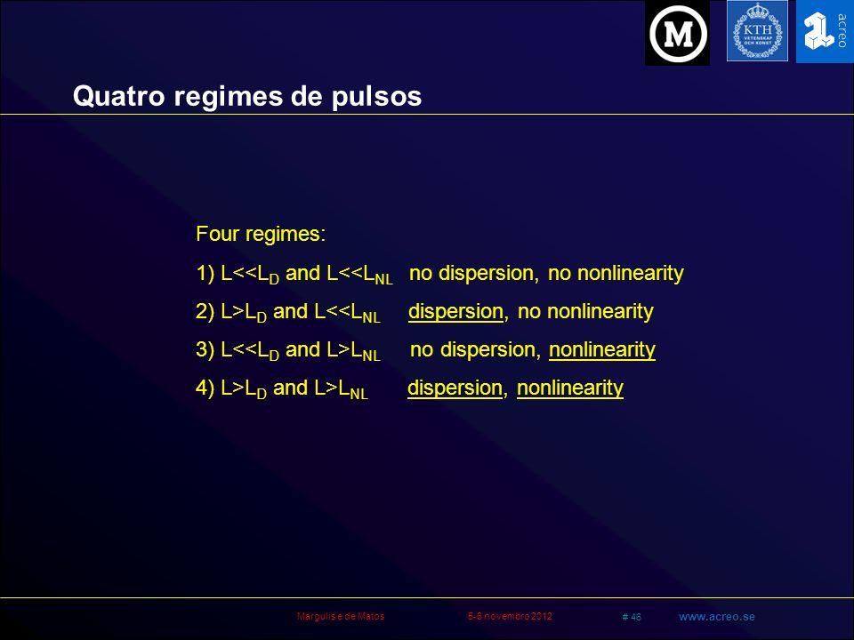 Quatro regimes de pulsos