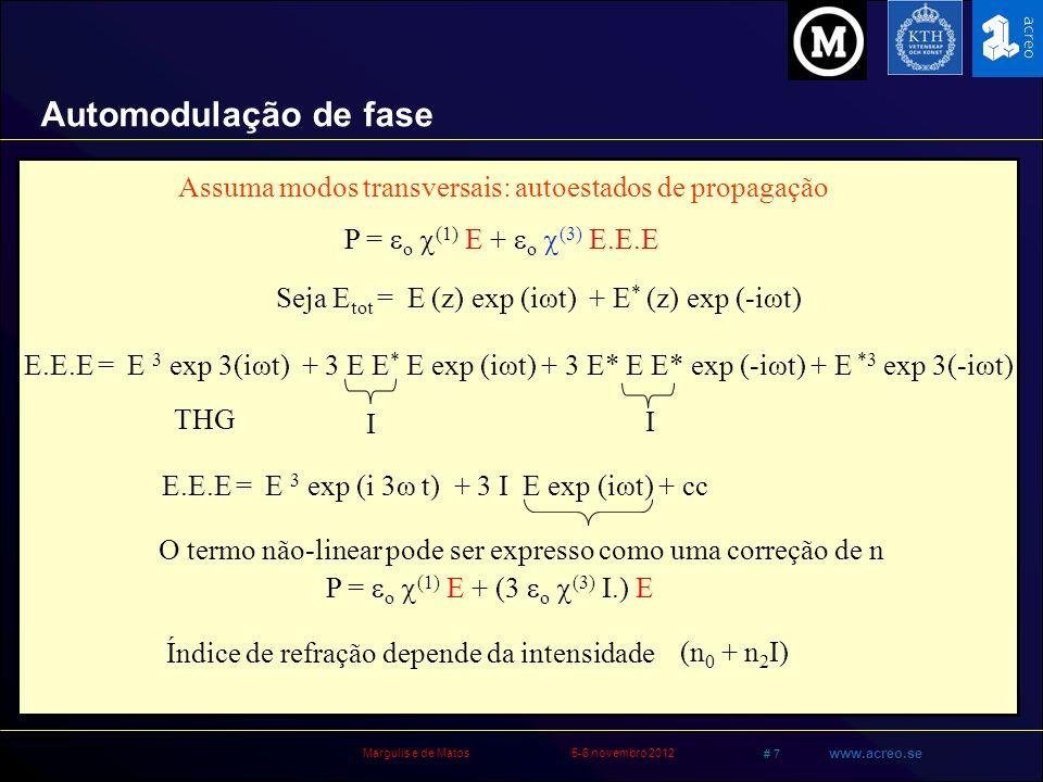 Automodulação de fase Assuma modos transversais: autoestados de propagação. P = o (1) E + o (3) E.E.E.