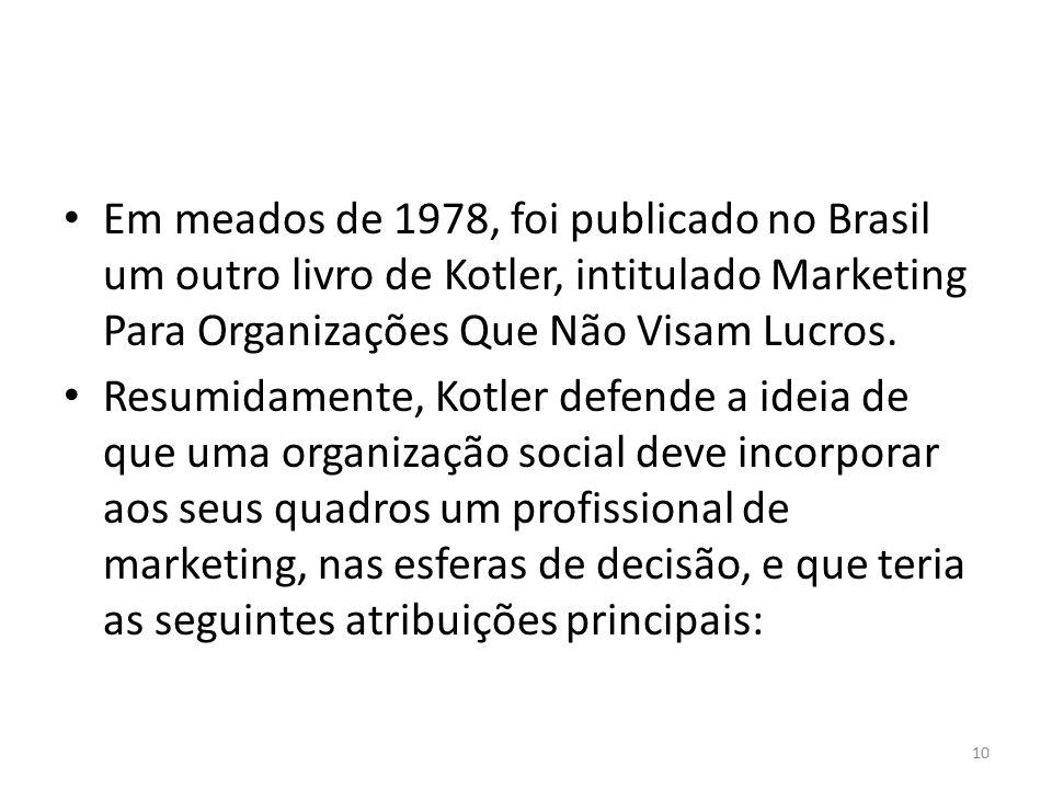 Em meados de 1978, foi publicado no Brasil um outro livro de Kotler, intitulado Marketing Para Organizações Que Não Visam Lucros.