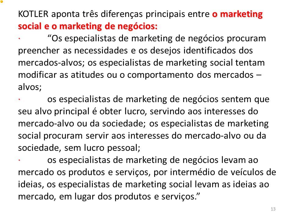 KOTLER aponta três diferenças principais entre o marketing social e o marketing de negócios: