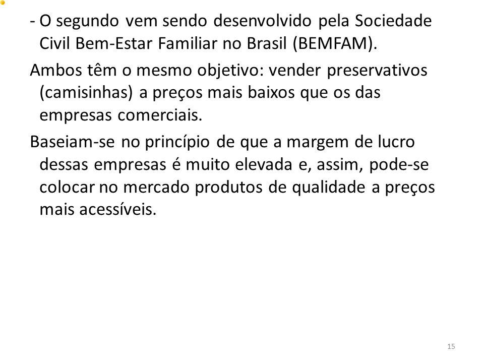 O segundo vem sendo desenvolvido pela Sociedade Civil Bem-Estar Familiar no Brasil (BEMFAM).