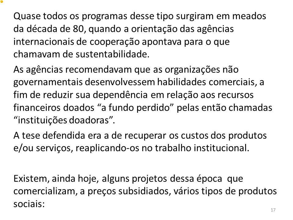 Quase todos os programas desse tipo surgiram em meados da década de 80, quando a orientação das agências internacionais de cooperação apontava para o que chamavam de sustentabilidade.