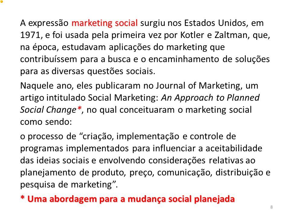 A expressão marketing social surgiu nos Estados Unidos, em 1971, e foi usada pela primeira vez por Kotler e Zaltman, que, na época, estudavam aplicações do marketing que contribuíssem para a busca e o encaminhamento de soluções para as diversas questões sociais.
