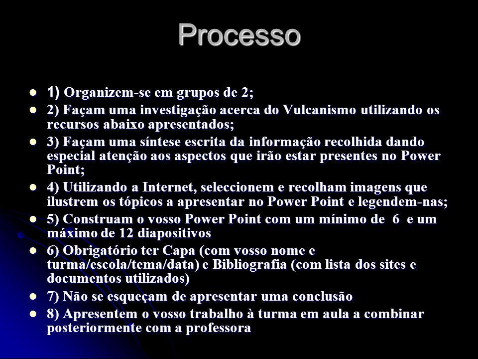 Processo 1) Organizem-se em grupos de 2;