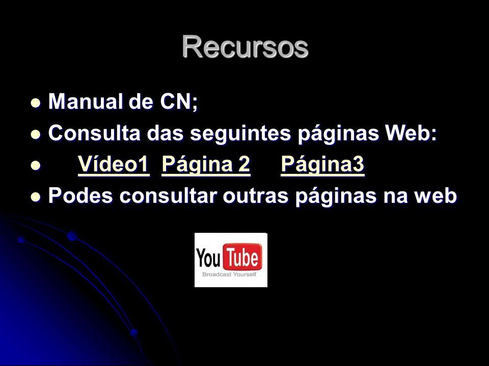 Recursos Manual de CN; Consulta das seguintes páginas Web: