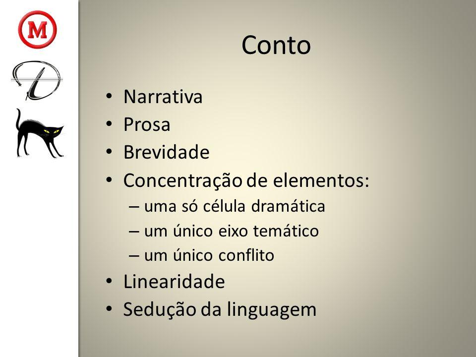 Conto Narrativa Prosa Brevidade Concentração de elementos: Linearidade
