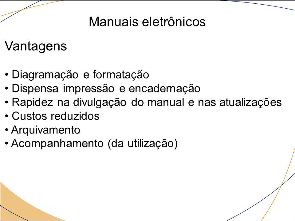 Manuais eletrônicos Vantagens Diagramação e formatação