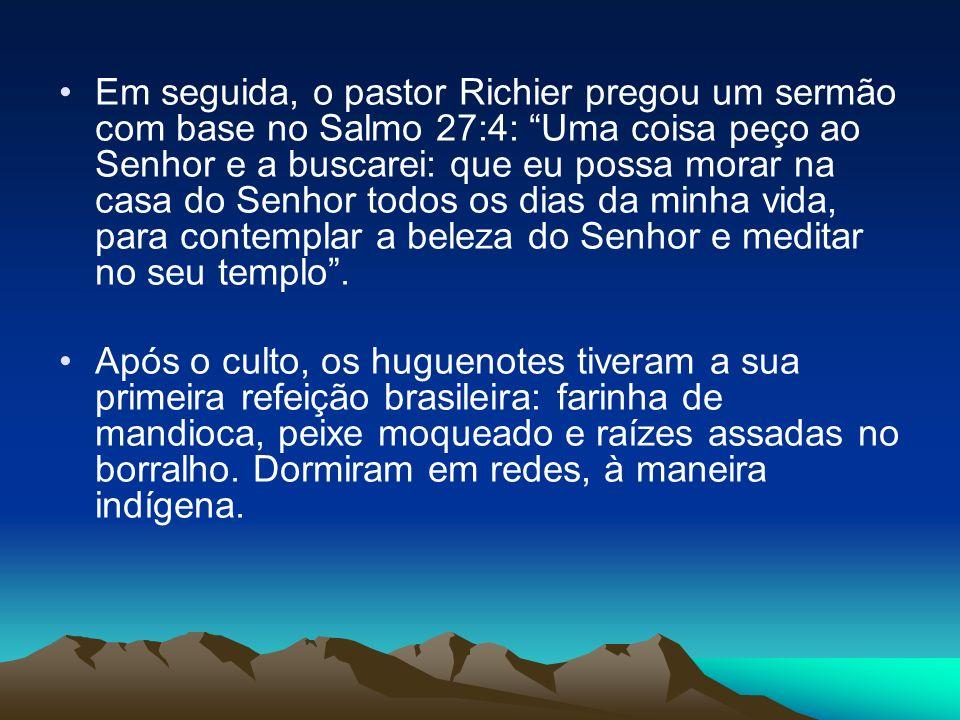 Em seguida, o pastor Richier pregou um sermão com base no Salmo 27:4: Uma coisa peço ao Senhor e a buscarei: que eu possa morar na casa do Senhor todos os dias da minha vida, para contemplar a beleza do Senhor e meditar no seu templo .