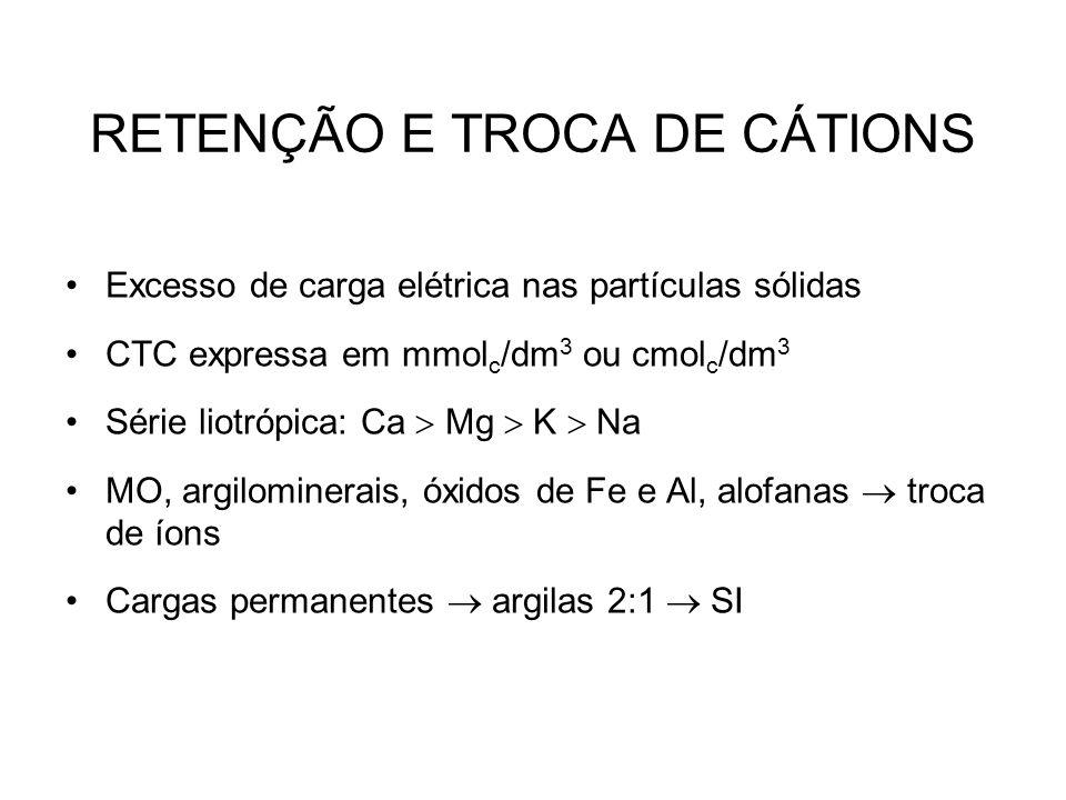 RETENÇÃO E TROCA DE CÁTIONS