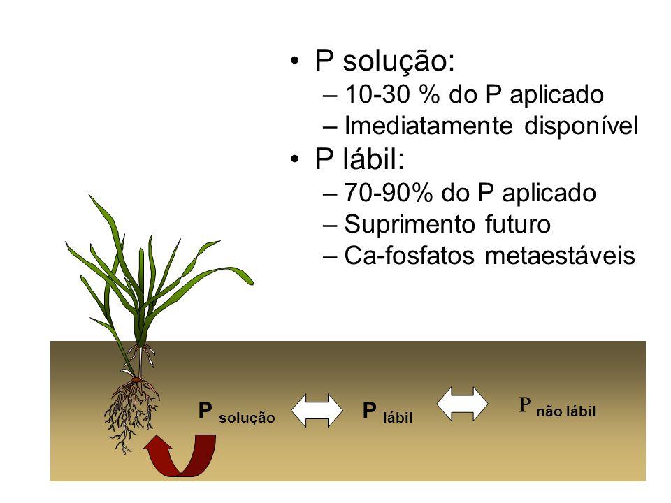 P solução: P lábil: 10-30 % do P aplicado Imediatamente disponível