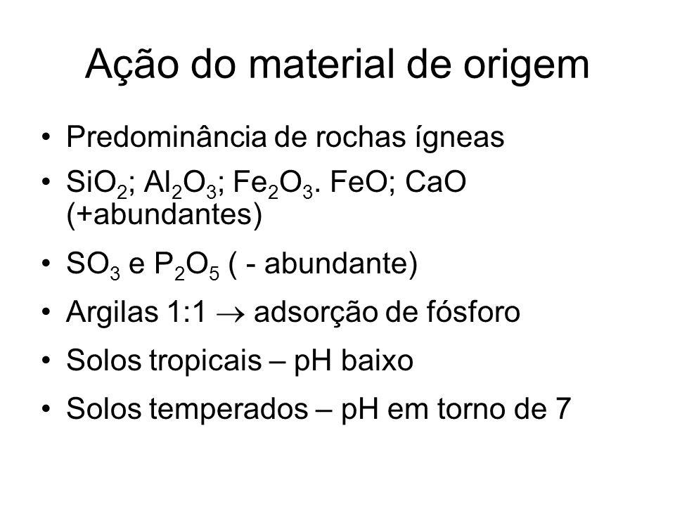 Ação do material de origem