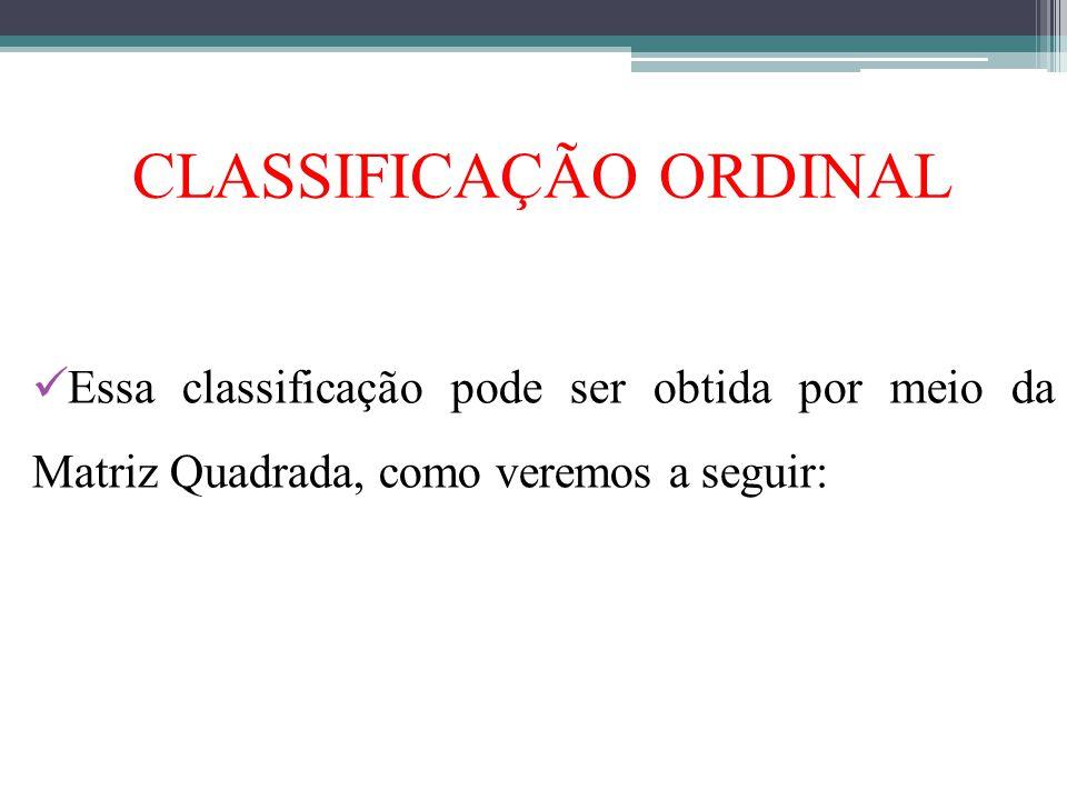 CLASSIFICAÇÃO ORDINAL