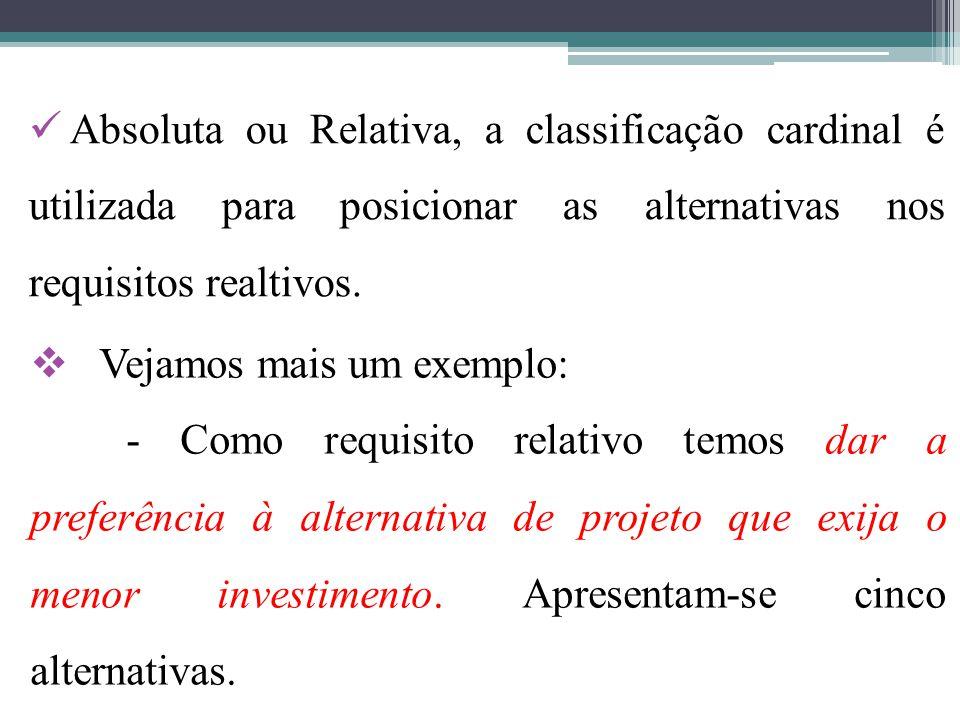 Absoluta ou Relativa, a classificação cardinal é utilizada para posicionar as alternativas nos requisitos realtivos.