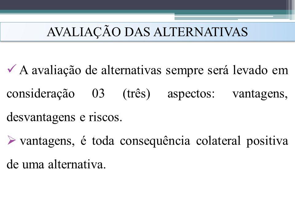 AVALIAÇÃO DAS ALTERNATIVAS
