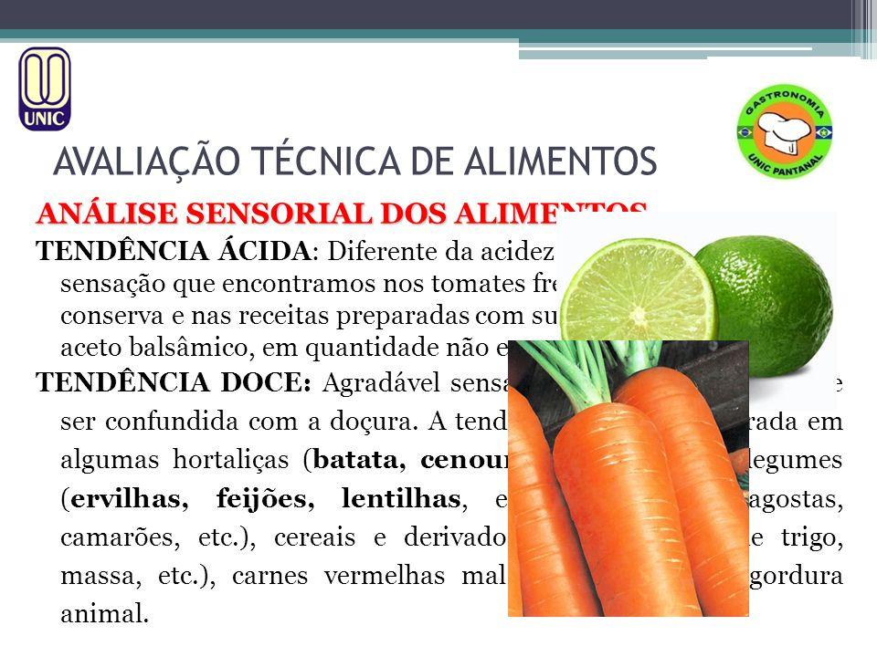 AVALIAÇÃO TÉCNICA DE ALIMENTOS