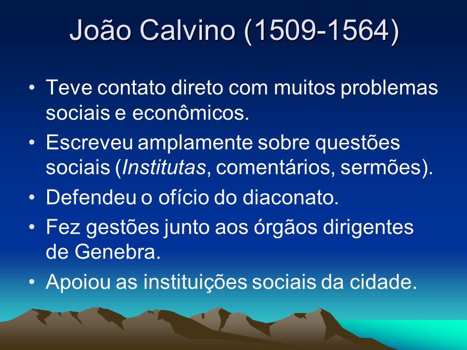 João Calvino (1509-1564) Teve contato direto com muitos problemas sociais e econômicos.