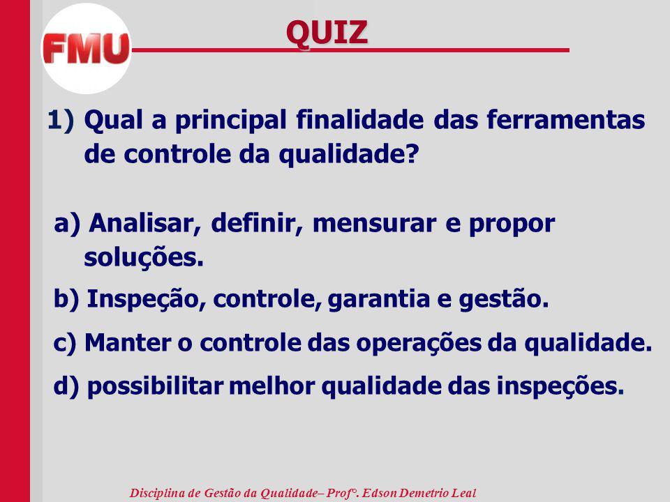 QUIZ Qual a principal finalidade das ferramentas de controle da qualidade a) Analisar, definir, mensurar e propor soluções.