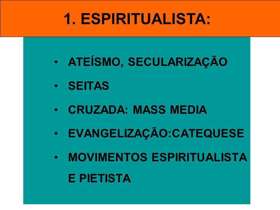 1. ESPIRITUALISTA: ATEÍSMO, SECULARIZAÇÃO SEITAS CRUZADA: MASS MEDIA